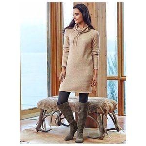 Athleta Merino Wool Cowl Neck Tan Sweater Dress